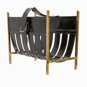 Magazine Holder in Copper & Leather, 1960s