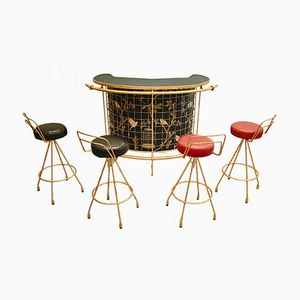Gilded Bar with Four Stools, 1950s