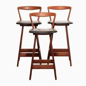 Sgabelli da bar di Henry Rosengren Hansen per Brande Møbelindustri, anni '60, set di 3