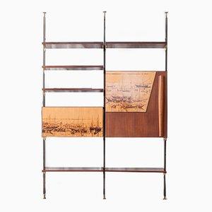 Libreria vintage in legno massiccio, metallo e ottone