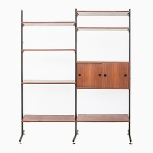 Bookcase Unit in Wood, Metal, and Brass, 1956