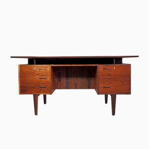 Danish Vintage Rosewood Desk with Drawers and Shelves