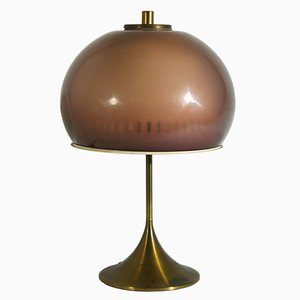 Italian Perspex & Brass Table Lamp from Lamter, 1950s