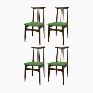 Green 200/100B Dining Chairs by M. Zieliński, 1960s, Set of 4
