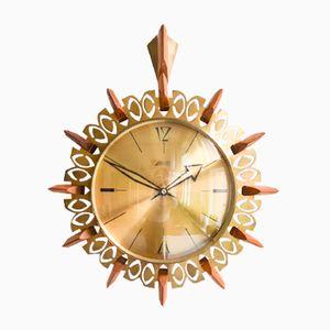 Orologio da parete Sunburst in ottone di Atlanta, Germania, anni '60