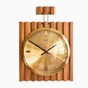 Horloge Murale en Teck et Laiton d'Atlanta, 1960s