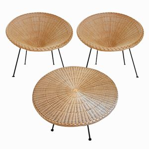 Woven Rattan Armchairs and Coffee Table, 1950s