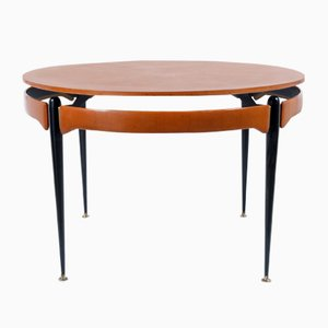 Round Walnut & Black Metal Table, 1960s