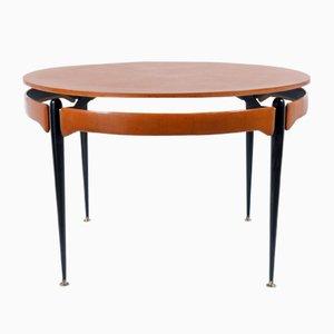 Runder Tisch aus Nussbaum und Schwarzem Metall, 1960er