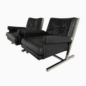 Leather Armchairs by Jacques Quinet, 1950s, Set of 2