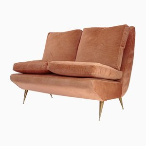 Italian 2-Seater Sofa with Brass Legs, 1950s