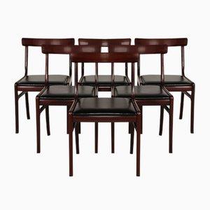 Dänische Vintage Rungstedlund Stühle aus Mahagoni und Leder von Ole Wanscher für Poul Jeppesen, 6er Set