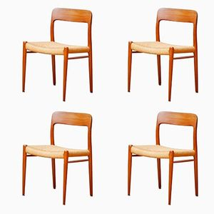 Mid-Century No. 75 Teak Dining Chairs by Niels Otto Møller for J.L. Møllers, 1960s, Set of 4