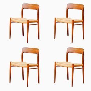 Mid-Century No. 75 Teak Esszimmerstühle von Niels Otto Møller für J.L. Møllers, 1960er, 4er Set