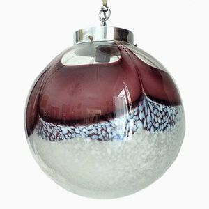 Vintage Italian White and Purple Murano Glass Spherical Hanging Lamp from Mazzega, 1972