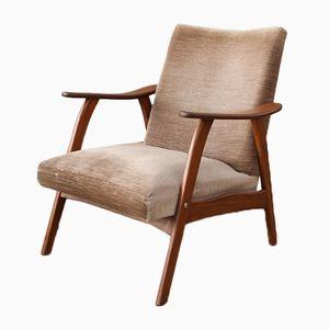 Dutch Teak Low Back Fabric Armchair, 1960s