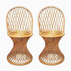 Britische Vintage Stühle aus Gedrehtem Schilfrohr, 2er Set