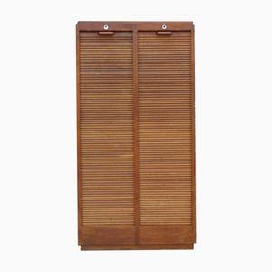 Art Deco Industrial Tambour Front Cabinet in Oak