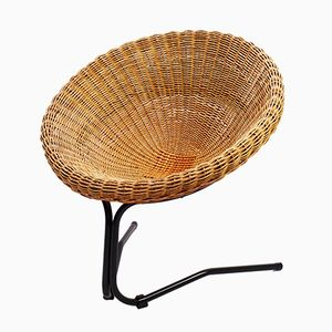Rattan Lounge Chair by Arnold Bueno de Mesquita for Rohé Noordwolde, 1950s