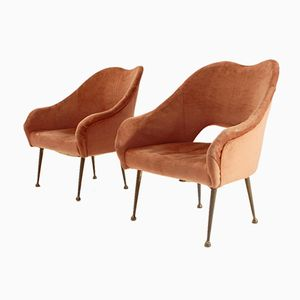 Mid-Century Dusty Pink Velvet Armchairs, 1950s, Set of 2