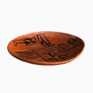Piatto grande vintage in ceramica con arte astratta