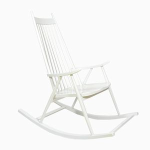 Czech Rocking Chair in White, 1960s