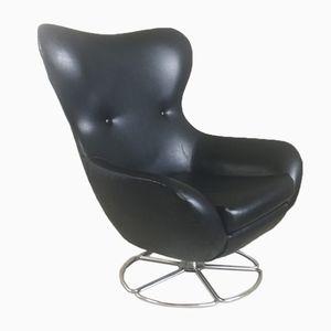Large Black Vinyl Lounge Chair, 1970s