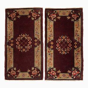 Hangefertigte Chinesische Art Deco Teppiche, 1920er, 2er Set