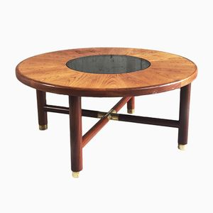 Vintage Mid-Century Circular Coffee Table with Smoked Glass Inset from G-plan