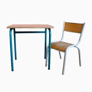 Table et Chaise d'École Vintage en Formica Orange, 1960s