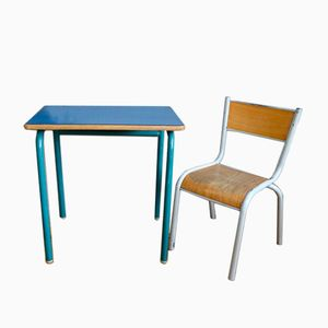 School Chair & Desk in Royal Blue Formica, 1960s