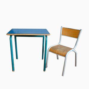 Sedia e banco da scuola in legno di formica color blu reale, anni '60