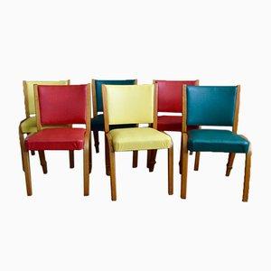 Bunte Bogenholz Stühle von Wilhelm Von Bode for Steiner, 1950er, 6er Set