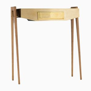 Italian Brass and Wood Console Table, 1950s