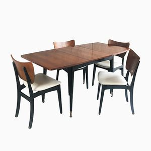Extendable Dining Table and 4 Dining Chairs, 1960s