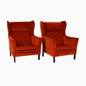 Danish Wingback Armchairs, 1970s, Set of 2