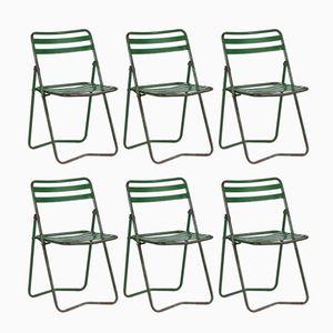 Französische Stühle aus Metall, 1950er, 6er Set
