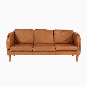 Vintage Tan Leather Sofa from Stouby