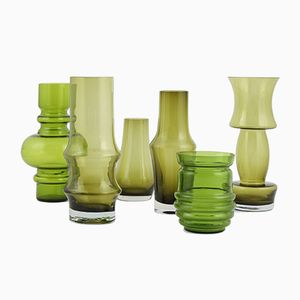 Vintage Green Vases, Set of 6