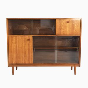 Teak Sideboard with Sliding Glass Doors from Nathan, 1960s