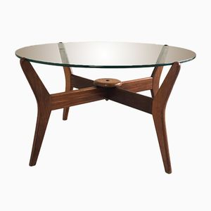 Oak Framed Circular Coffee Table, 1960s