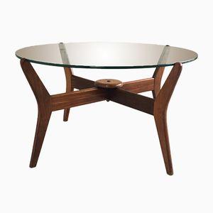 Tavolino da caffè rotondo con struttura in quercia, anni '60