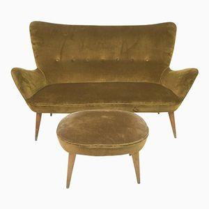 Italienisches Sofa & Hocker, 1950er