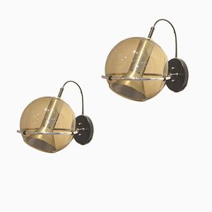 Applique sferiche in vetro di Frank LIgtelijn per Raak, 1961, set di 2