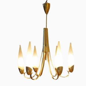 Mid-Century Italian Brass & Opaline Glass Chandelier