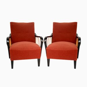 Red & Black Armchairs, 1950s, Set of 2