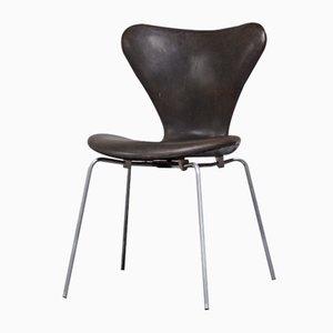 Sedia nr. 3107 in pelle di Arne Jacobsen per Fritz Hansen, Danimarca, 1962