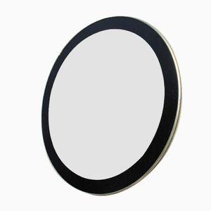 Specchio Mid-Century rotondo con bordo dorato