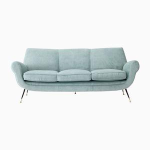 Three-Seater Velvet Sofa, 1950s