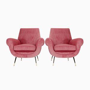 Italian Pink Velvet Armchairs, 1950s, Set of 2